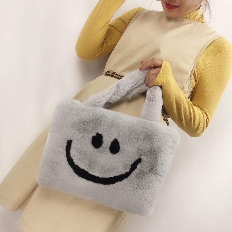 High quality smiley fur bag