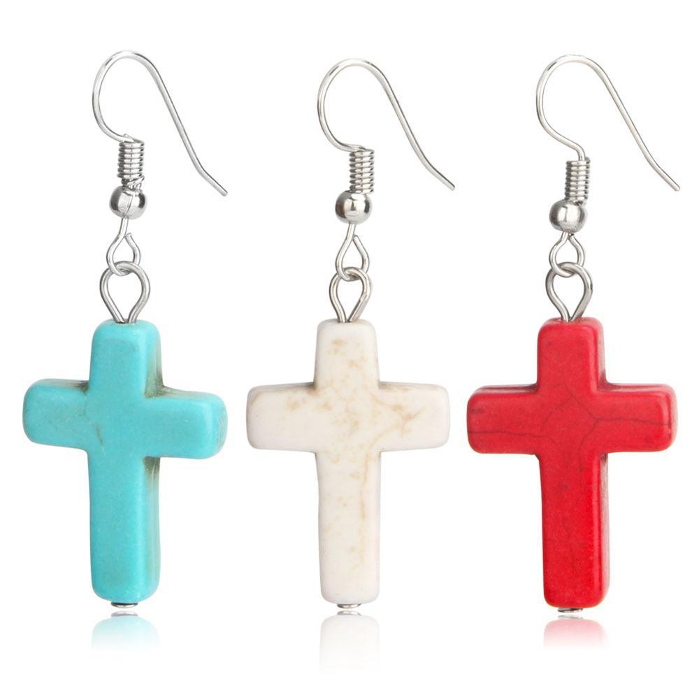 Stone Cross Alloy Dangle Earrings