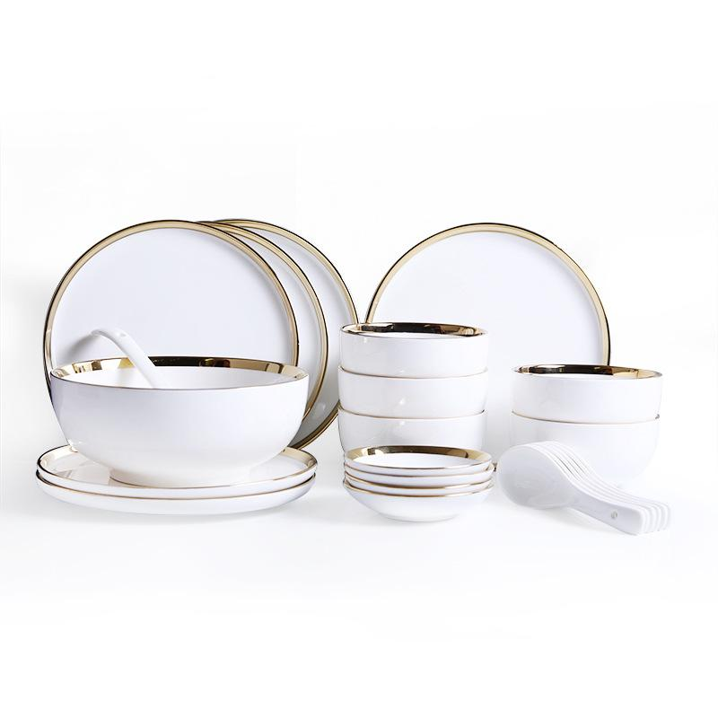Ceramic White with Gold-Edge Plating Dinnerware 26-piece Set