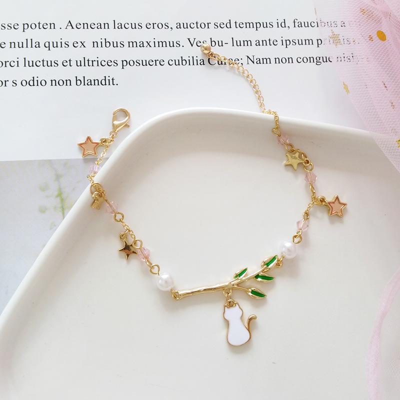 Cat and Leaves Bracelet