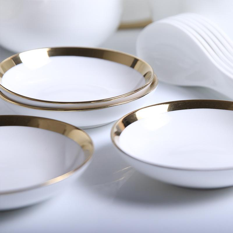 White with Gold-edge Plating Tableware 18-piece set