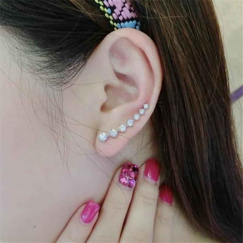 Rhinestones Climber Earrings