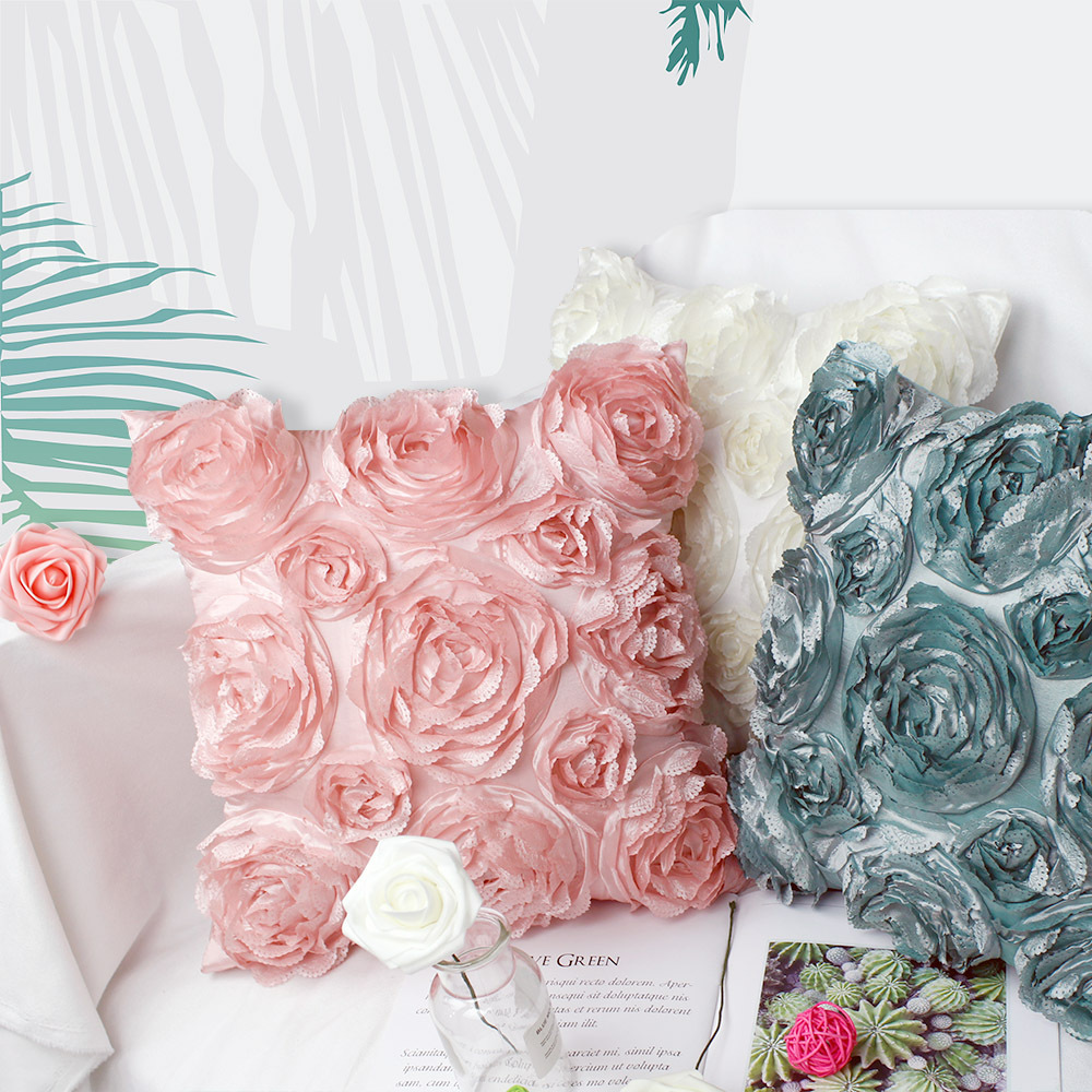 Pretty Pillows Embedded with Woven Roses for Living Room and Lounges