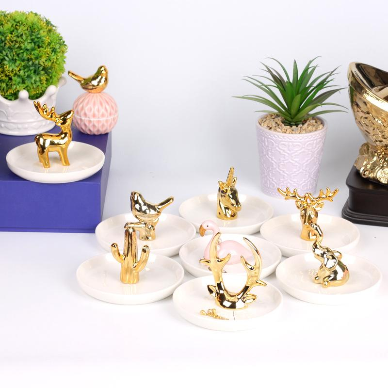 Animals Golden Jewelry Plate