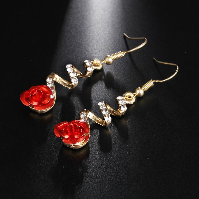 Stunning Red Rose Earrings