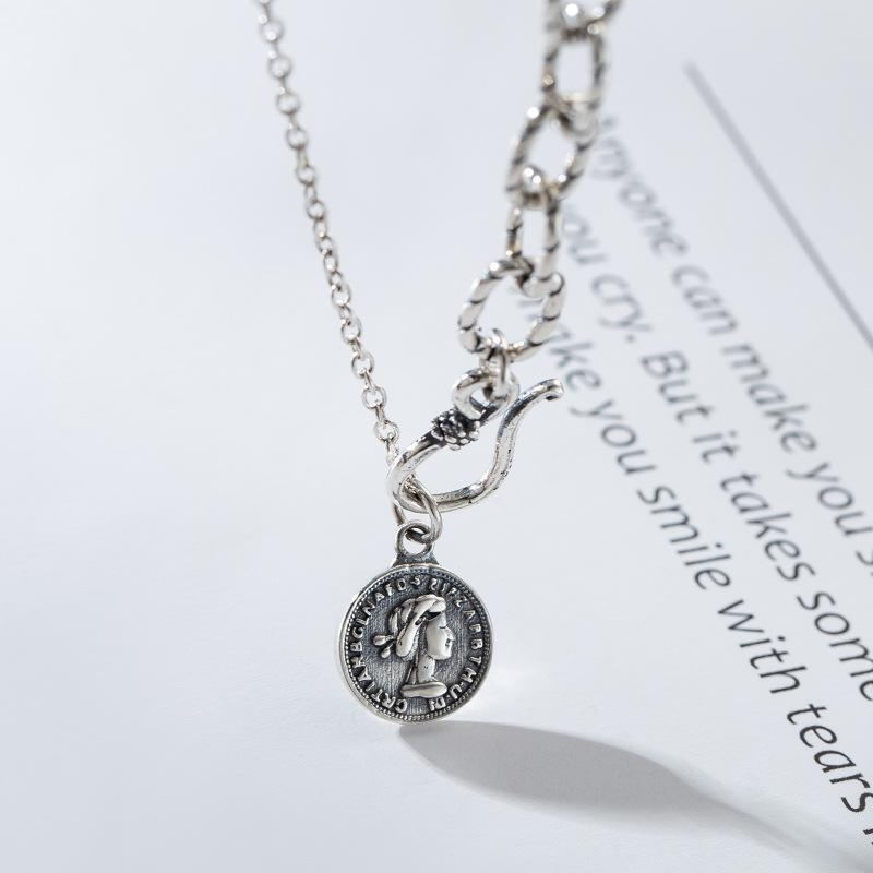 Sterling Silver Portrait Coin Necklace