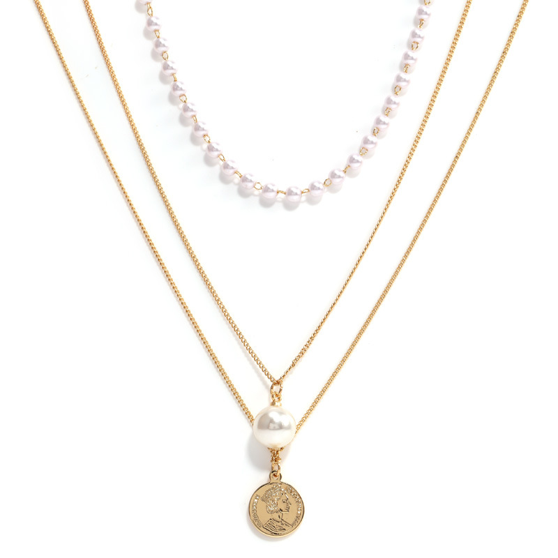 Faux Pearls and Coin Charms Layered Necklace