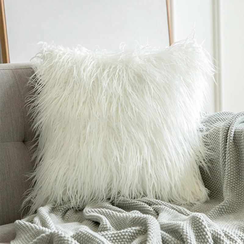 Furry Plush Color Pillow Case