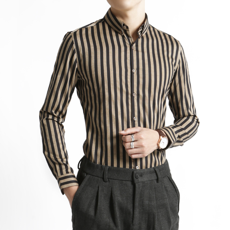 Black and Brown Horizontal Striped Slim-Fit Long Sleeves for Banquets
