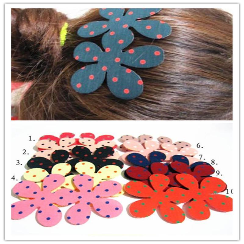 Polka Flower Pair Hair Sticker