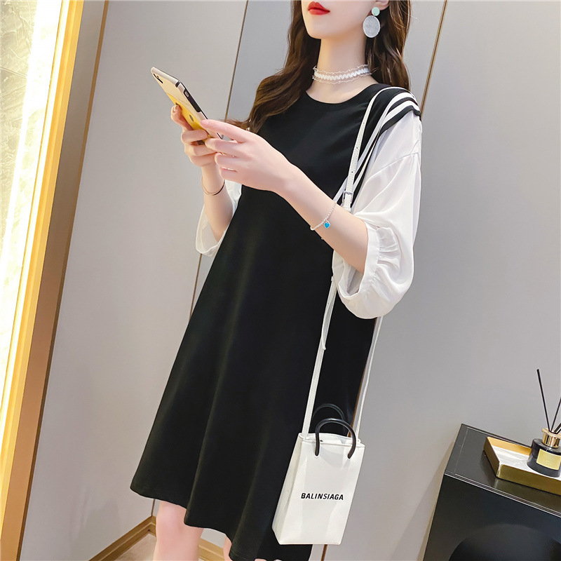 Classy Layered Knee Length Dress with Bishop Sleeves for Casual Wear