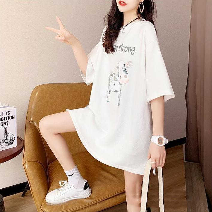 """Cartoon Cow """"Stay Strong"""" T-Shirt Dress for Mall Dates"""