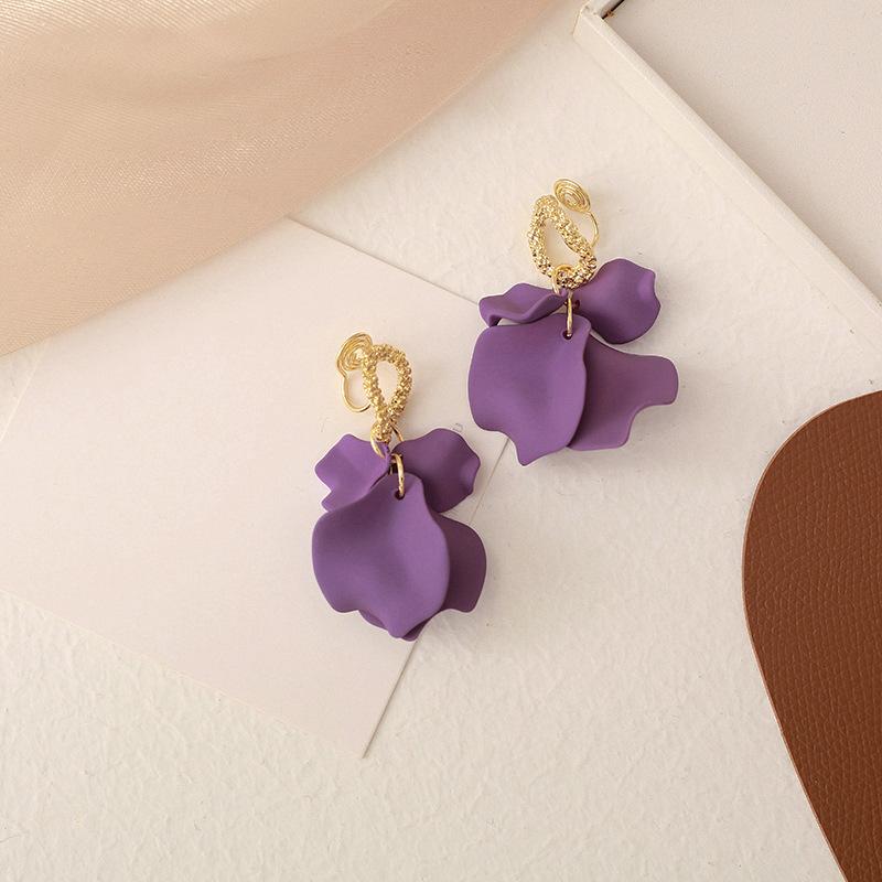 Fancy Pushback/Clipback Purple Petal Earrings for Summer Accessories