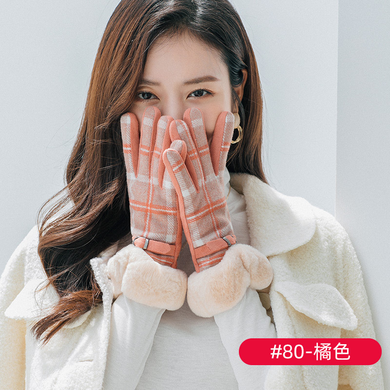 Thick Plaid Gloves for Stylish Work Outfits