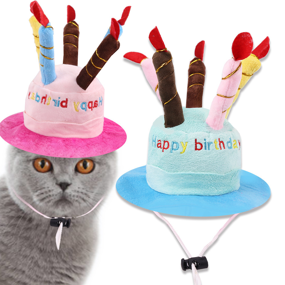 Polyester Birthday Cake Hat with Colorful Candles for Celebrating Pet's Birthday