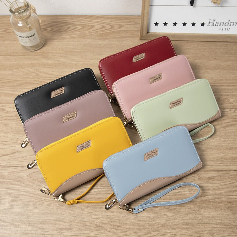 Lovely Color Zip Around Long Wallet for Carrying Cash and Card
