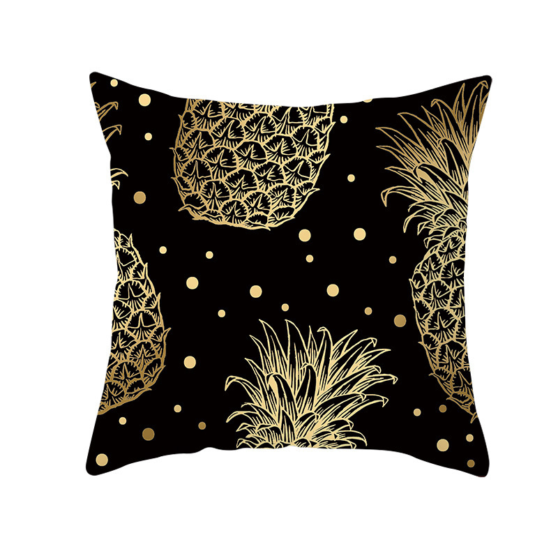 Black Gold Leaf Linen Pillowcase for Luxury Touch
