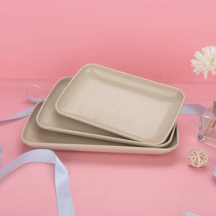 Rectangular Plate Made of Wheat Straw for Durable Tableware