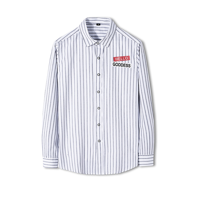 Striped Statement Long-sleeve Button-up Shirt for Casual Wear