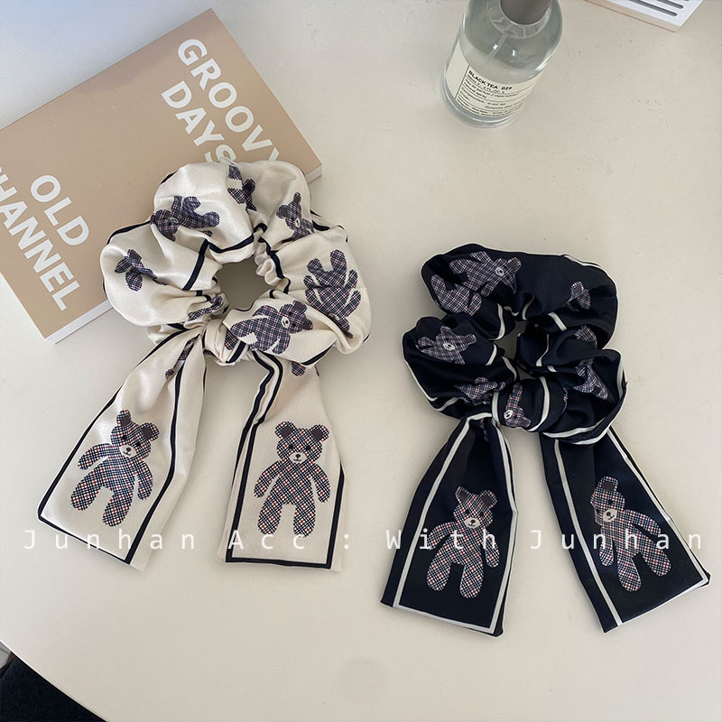 Classy Black and White Scrunchie with Bear Print for Any Occasion