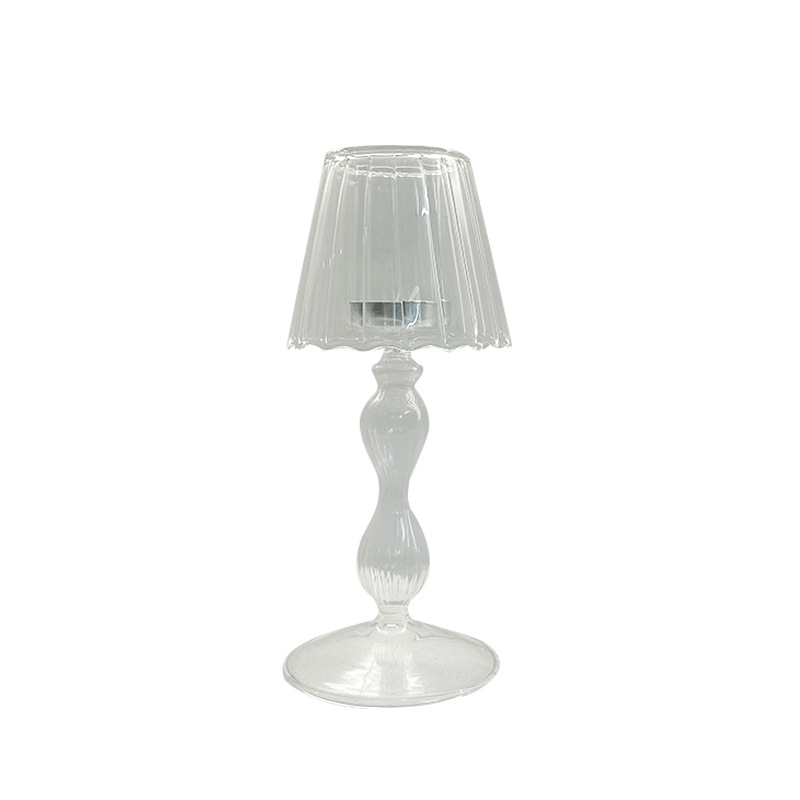 Unique Lamp-Shaped Glass Candle Holder for Retro Style Home Décor Ideas
