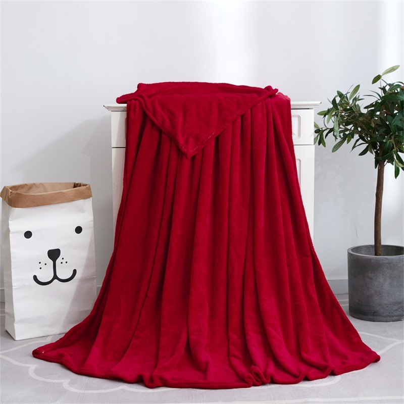 Pure Color Coral Fleece Blanket for Home Use