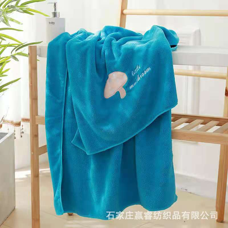 Vibrant Color Quick Dry Towel with Embroidered Design for Bath Use