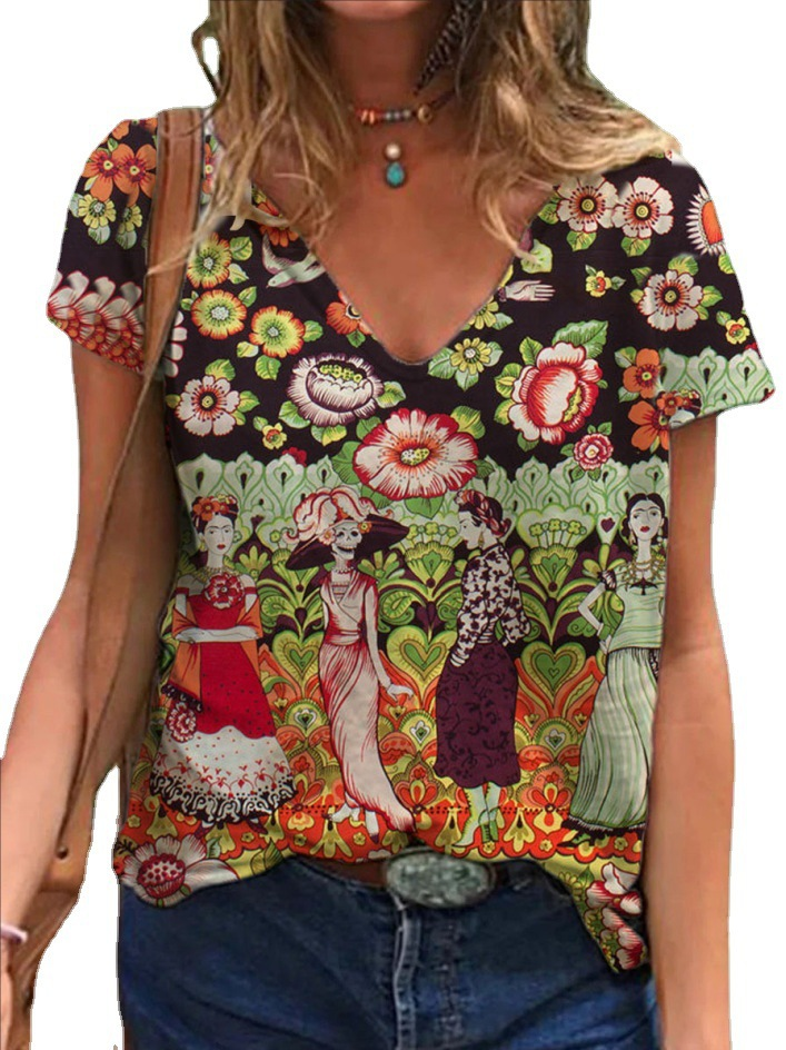 Floral Artwork Print Blouse for Street Wear