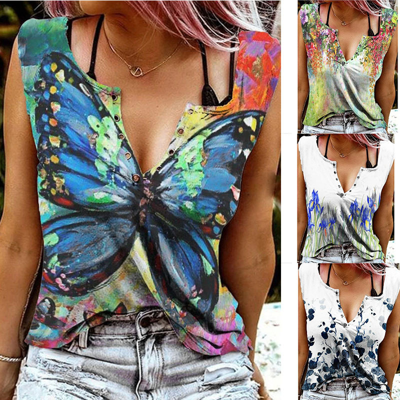 Trendy Garden-Themed Sleeveless Top with Snap Buttons for Beach Strolls