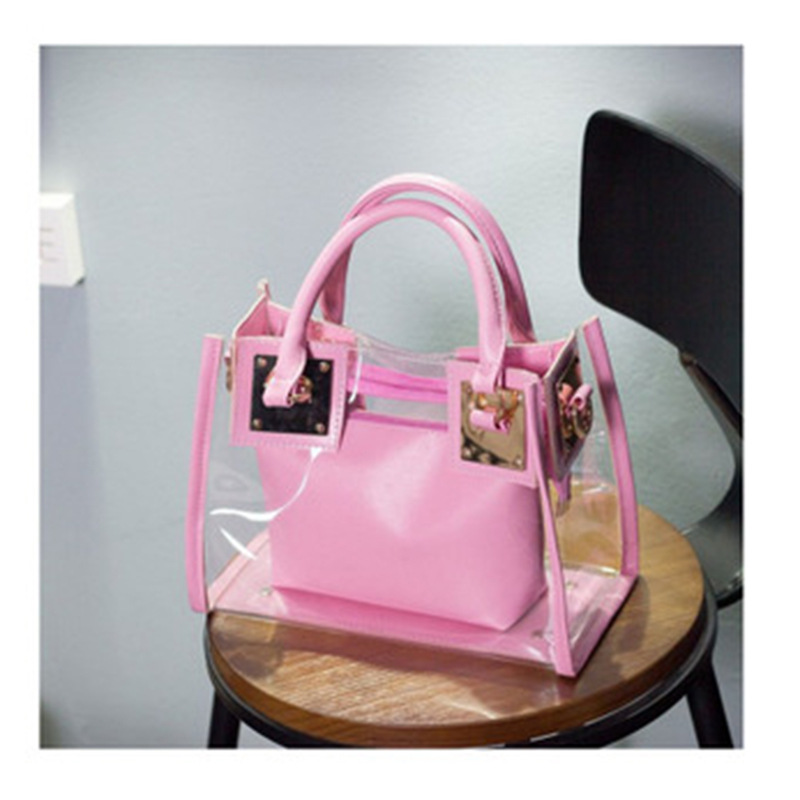 Double Handle Clear Hand Bag for Stylish Outfits