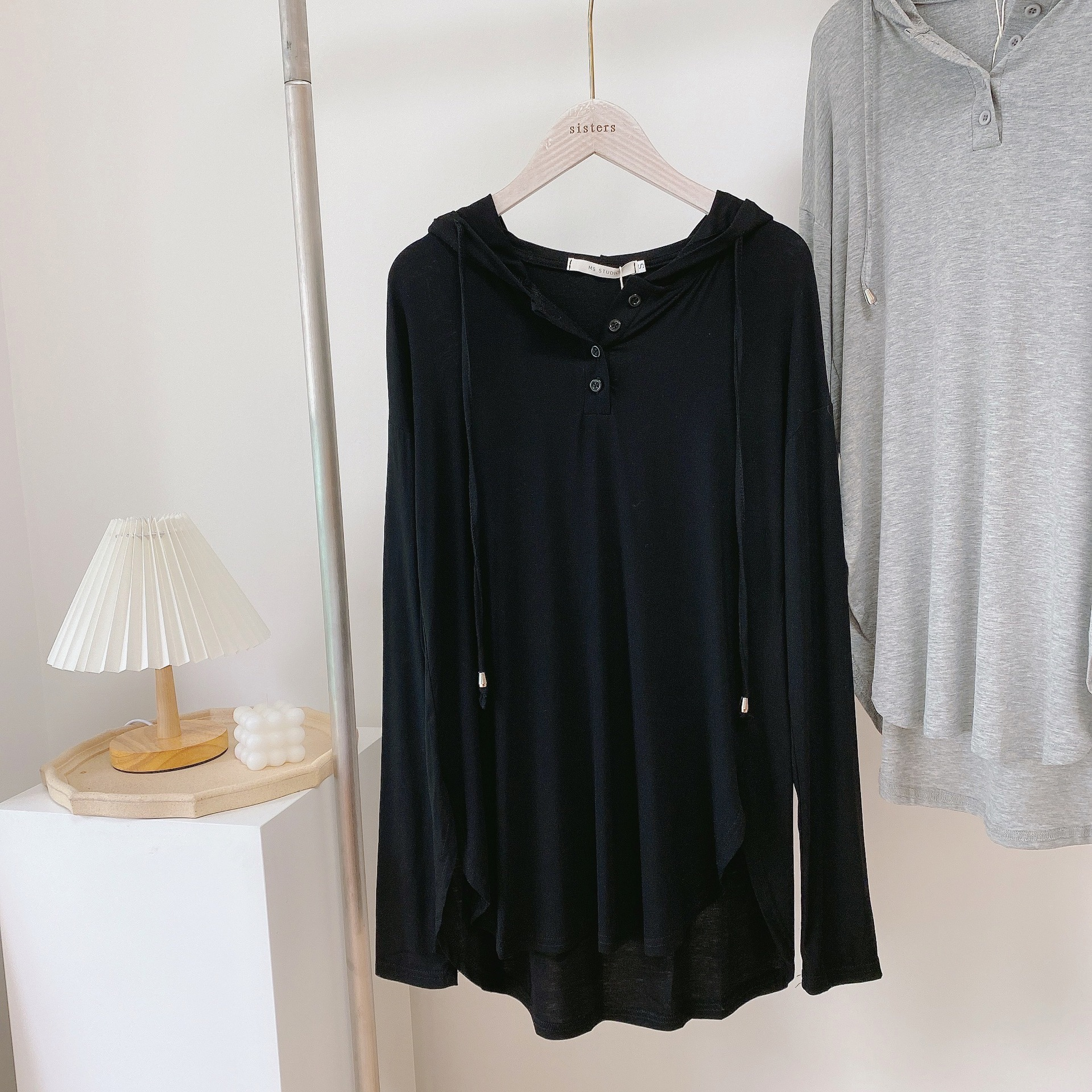 Women's Hoodie with Buttoned Neckline for Use for All Seasons