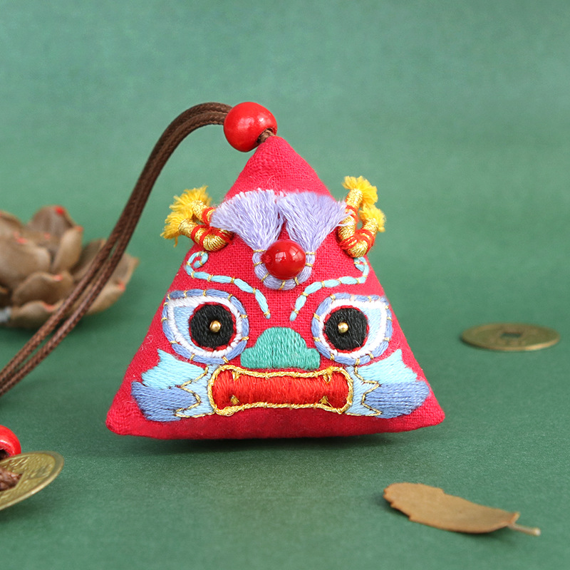 Hand-Embroidered Festival Lion Car Pendant for Traditional Car Decorations