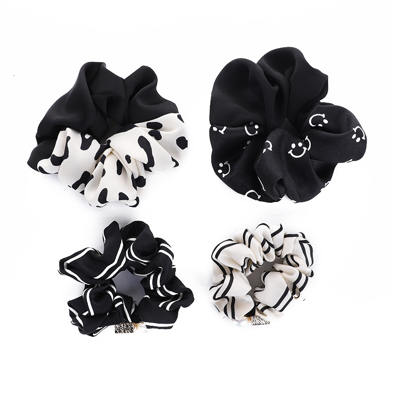 Classy Soft Cloth Black and White Scrunchie for Any Occasion Use