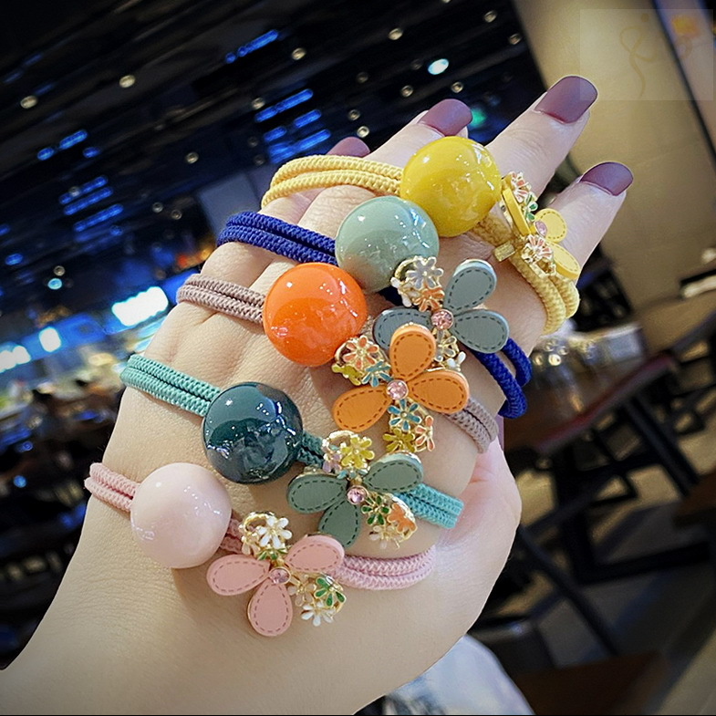 Lovely Flower and Ball Design Hair Tie for Dainty Hair Accessories