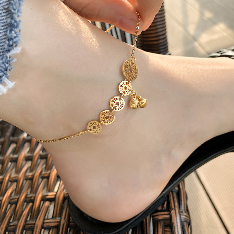 Gorgeous Titanium Steel Anklet with Bells for Foot Ornaments