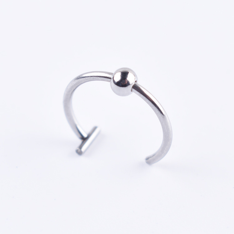 Simple Stainless Steel Nose and Lip Ring for Edgy Look