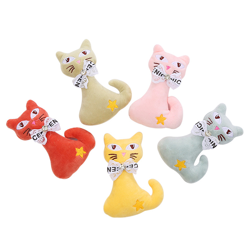 Multi-Colored Cute Cat Plush Toys for Pets Entertaining Supplies