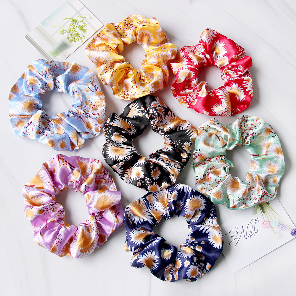 Cute Floral Satin Scrunchies for Customer Appreciation Gifts