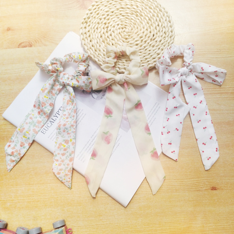 Soft Silk Floral Scrunchie with Ribbon for Tying Hair