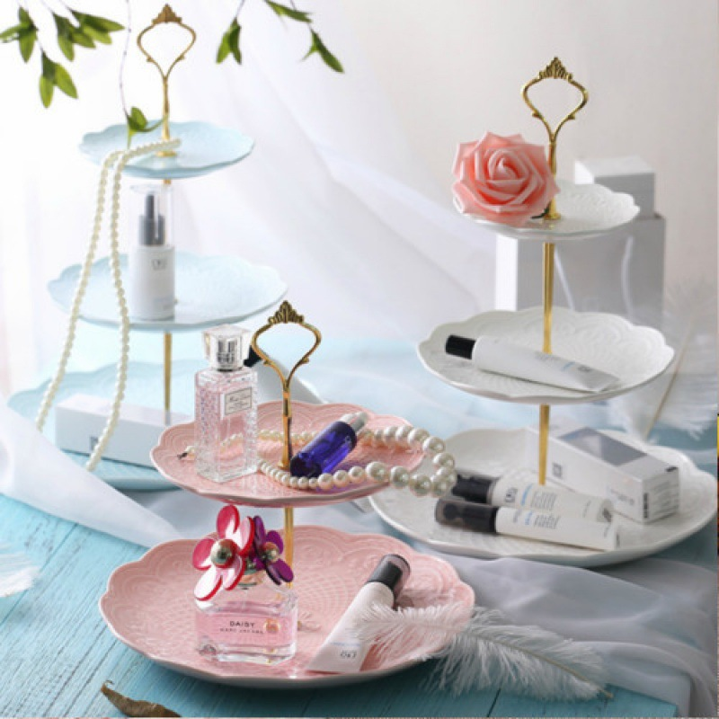 Stylish Three-Layer Dish Display for Party Table Setting