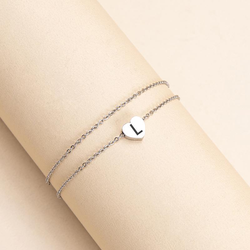 Elegant Double Layer Letter Anklet for Birthday Gift
