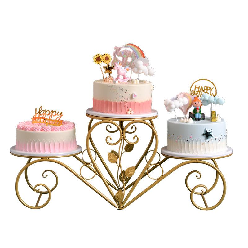 Three-Layered Metal Cake Holder for Birthday Parties