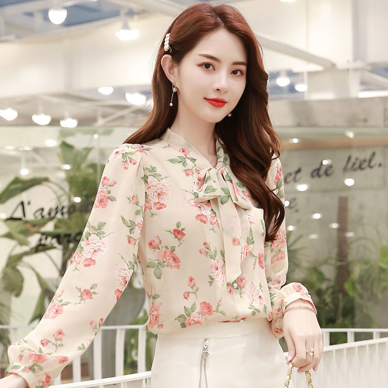 Exclusive Floral Chiffon Top with Bow Collar for Fancy Dates