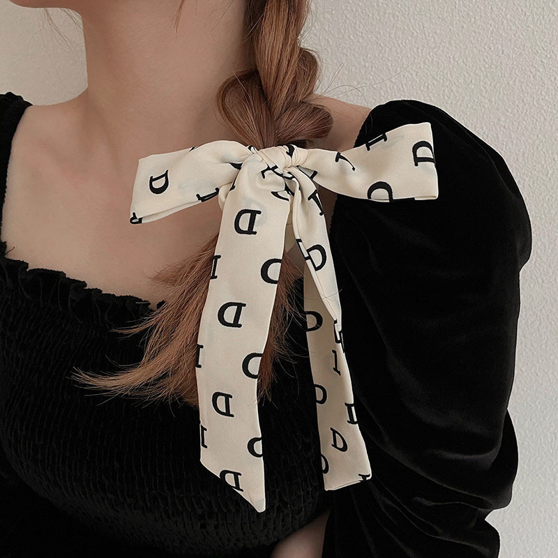 """Charming """"D"""" Printed Bow Scrunchie for Chic Looks"""