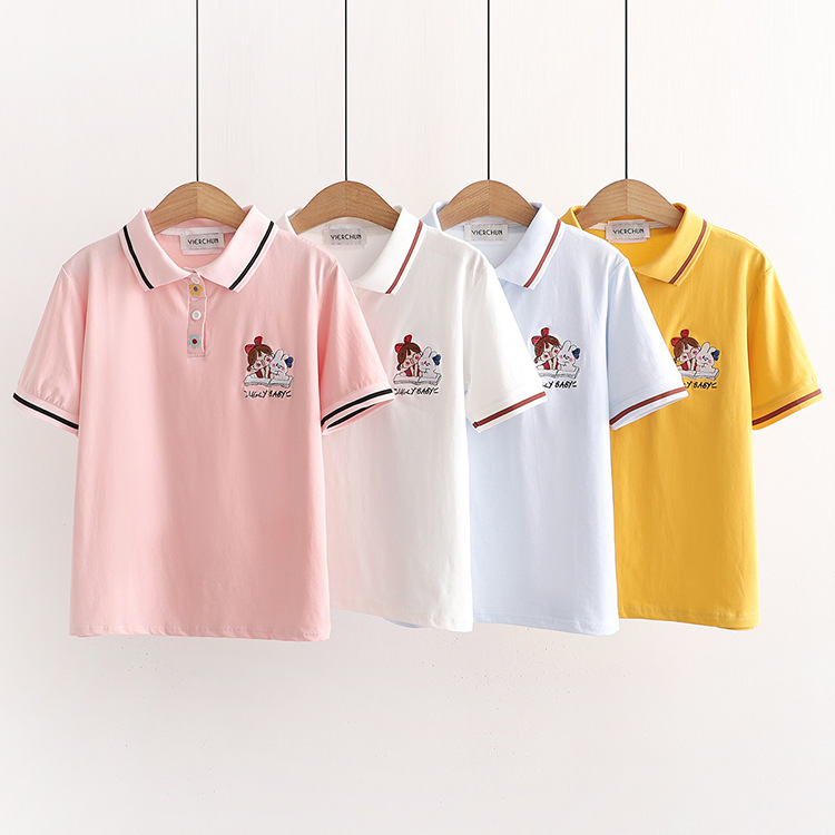 Cute Cotton Polo with Flower Buttons for Adorable Outfits