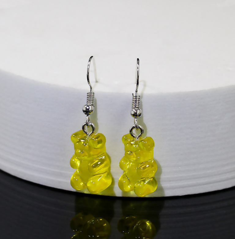 Creative Candy Color Bear Earrings for Ladies