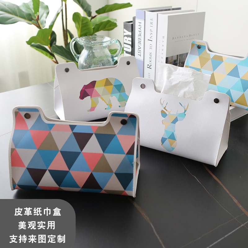 Scandinavian Geometric Imitation Leather Tissue Holder for Clean Spaces