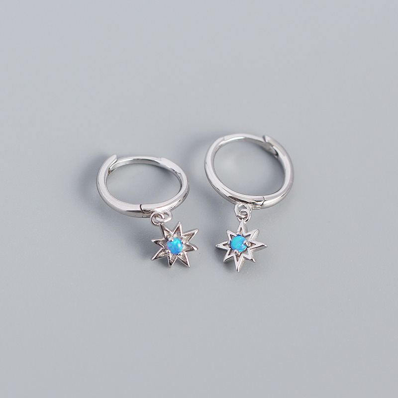 Lovely Star-Shaped with Opal Silver Earrings for Graduation Parties