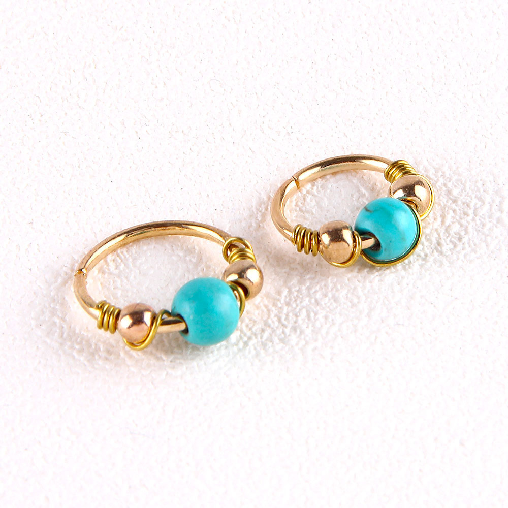 Bohemian Turquoise Bead Nose Ring for Showing Off Your Personality