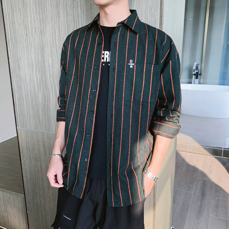 Trendy Striped Shirt Jacket for Young Men